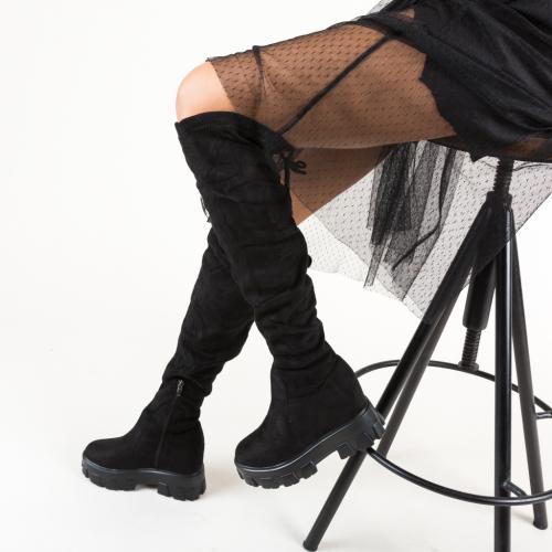 Cizme Saniya Negre - Cizme femei - Cizme peste genunchi