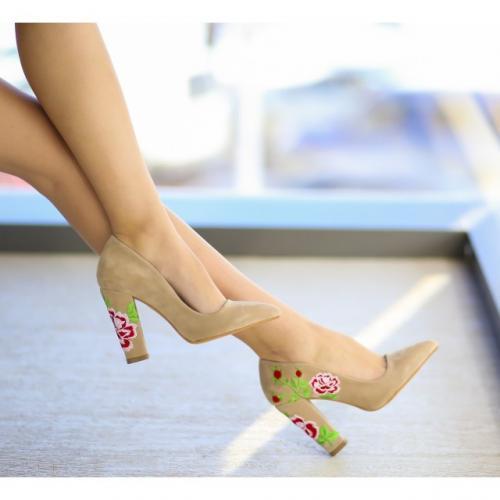 Pantofi Argasi Bej - Pantofi - Pantofi cu toc gros