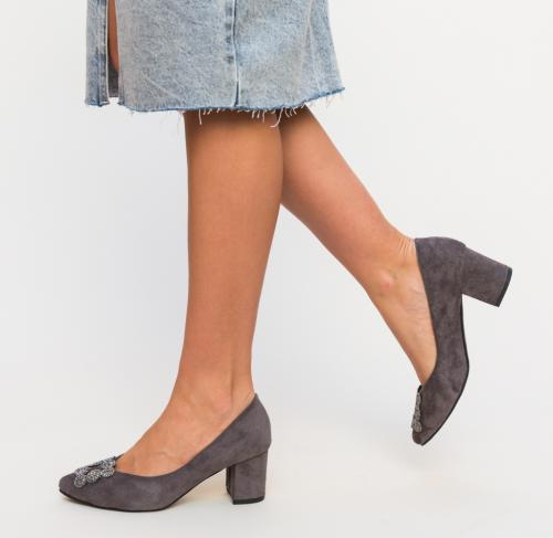 Pantofi Broida Gri 2 - Pantofi - Pantofi cu toc gros