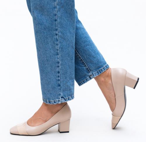 Pantofi Elif Bej - Pantofi - Pantofi cu toc gros