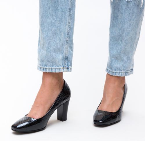 Pantofi Fyn Negri 2 - Pantofi - Pantofi cu toc gros