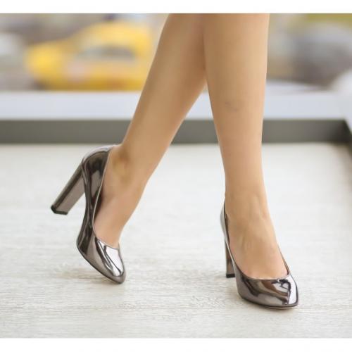 Pantofi Jane Gri - Pantofi - Pantofi cu toc gros