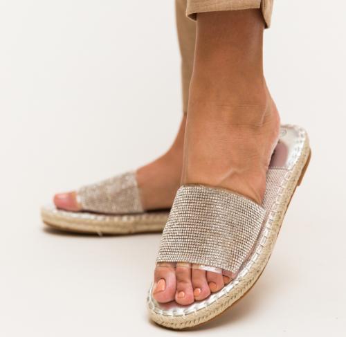 Papuci Amie Argintii - Sandale dama - Slapi
