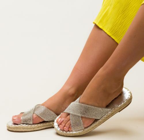 Papuci Baxter Argintii - Sandale dama - Slapi