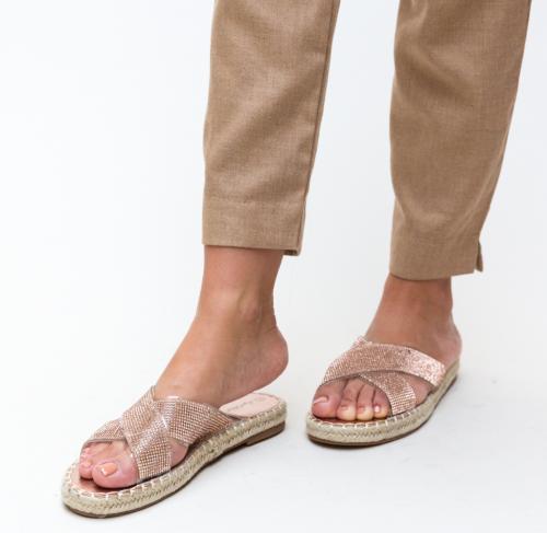 Papuci Baxter Aurii - Sandale dama - Slapi