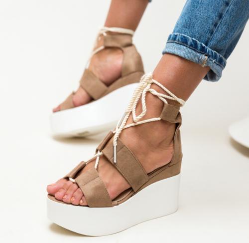 Platforme Brax Khaki - Sandale dama - Sandale platforma