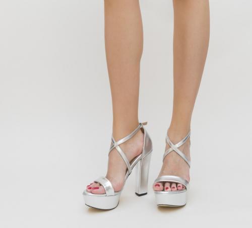 Sandale Alanos Argintii - Sandale dama - Sandale toc gros