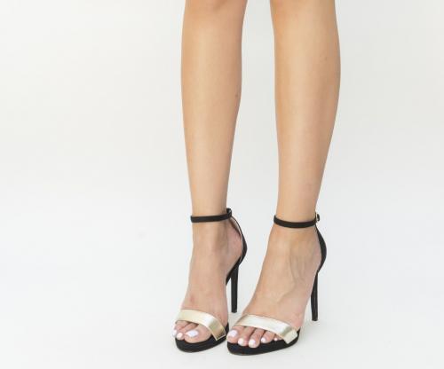 Sandale Berga Negre - Sandale dama - Sandale cu toc subtire