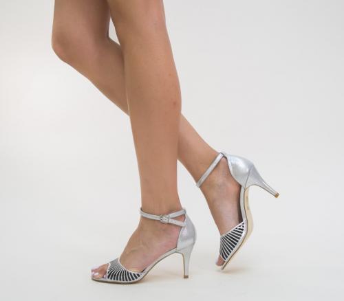 Sandale Roter Argintii - Sandale dama - Sandale cu toc subtire